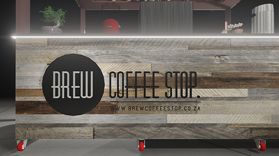 Riscali was appointed for the aesthetic design of Brew Coffee Stop in the Vaal Mall